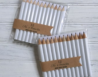Advice pencils, White Mini Pencils, Wedding, Bridal Shower, Baby Shower