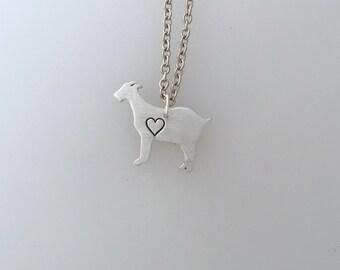 New-Goat with Heart Necklace-Vegan Necklace-Vegan Jewelry-Goat Jewelry-Rescue Goats-Farm Animal Sanctuary-Eco Friendly