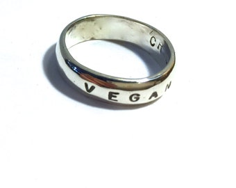 Vegan Band Ring-Vegan Jewelry-Eco Friendly-Vegan Gift-Plant Based-Customizable-Recycled Metals-Unisex-