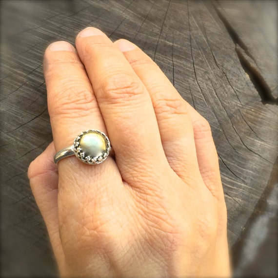 Silver and Gold Ring-Vegan Ring-Eco Friendly-Pyrite- Fools Gold-Natural Stone-Recycled sterling