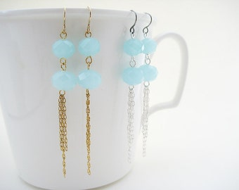 Tassel Earrings - blue statement earrings with gold or silver chain, lightweight boho bead tassel jewelry
