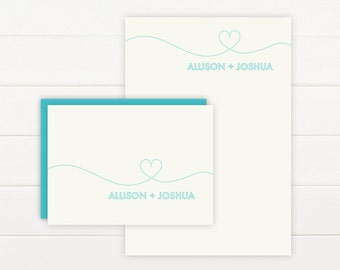 SMITTEN Personalized Stationery + Notepad Set, Personalized Notepad and Personalized Stationary