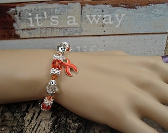 RO-1 MS Awareness Bracelet Leukemia Jewelry Kidney Cancer Jewelry Multiple Sclerosis Beaded Bracelet RSD Bracelet