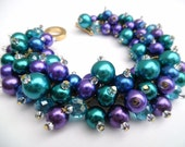Set of 4 Bracelets and 4 Necklaces in Peacock Wedding Theme Bracelet, Purple and Teal Bracelet, Purple Jewelry, Pearl Beaded Bracelet