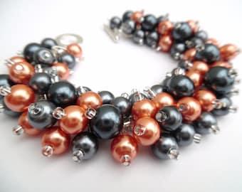 Orange and Slate Gray Pearl Bracelet, Bridesmaid Jewelry, Cluster Bracelet, Beaded Bracelets, Orange Wedding Jewelry, Bridesmaids Bracelets