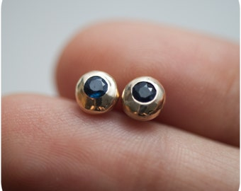 Blue Sapphire and Gold Earrings - September Birthstone Stud Everyday Earrings