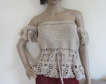 bOHO OFFSHOULDER TOP, festival clothing, crochet top, off shoulder top, beachcover up, off shoulder crochet top, gypsy offshoulder top