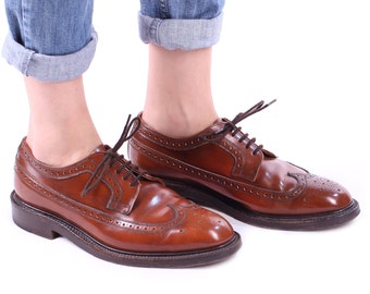 Men BROGUE Shoes 80s Brown Leather Luxury CHEANEY England Made Vintage Wingcap Perforated Elegant Mens Gift sz men Us 8 , Eur 41 , UK 7.5