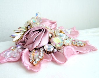 Pink Blush- OOAK Brooch/hairpiece - Ready to ship xx