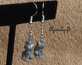 Gray Tiger Cat Earrings 16012