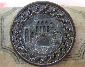 Vintage Building Castle Victorian Picture Button