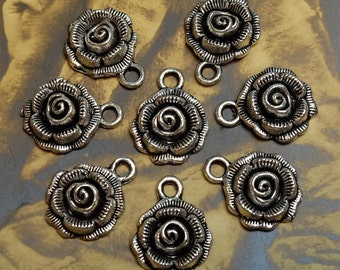 Flower Charms Roses White Metal Findings Supply Drops