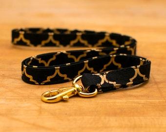 Lanyard, ID Holder, Badge Holder Necklace, Key Chain, Neck Strap, Teacher Gift - Black & Metallic Gold Quatrafoil