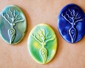 Handmade Ceramic Mosaic Tile - Stoneware Goddess - Goddess Cabochon - Handmade Ceramic Goddess - Pagan Supplies - Uprising Venus