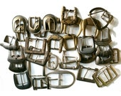 Belt Buckles variety lot 22 silvertone 12 brass large lot lether supplies sewing supplies