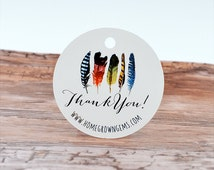 Tribal Feathers Boho Thank You Tags | Hang Tags | Customized | Packaging | Gift Tags | Wedding Labels | DS0083