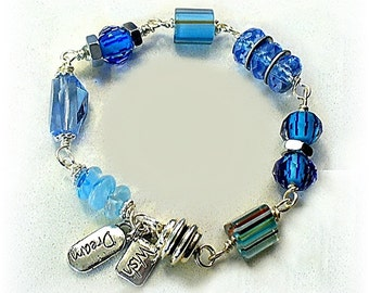 Blue Hardware Bracelet - Nuts and Washers Industrial Bracelet  Ladies Size Small - B2013-13