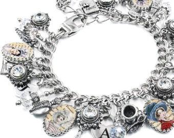 Jane Austen Jewelry, Jane Austen Bracelets, Book Lover Jewelry, Literary Charm Bracelet, Jane Austin Jewelry