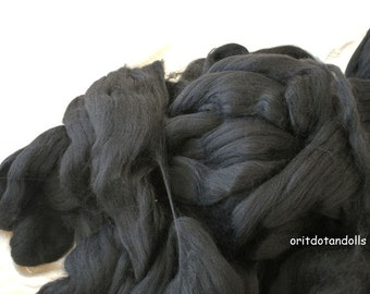 Merino wool rooving, black, for needlefelt, felting, spinning, weaving and more, made in Italy