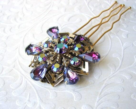Purple Aurora Borealis Rhinestone Hair Comb Jeweled Hairpiece Vintage Jewelry Headpiece Gold Iris Wedding Bridal Accessory Pageant Ballroom