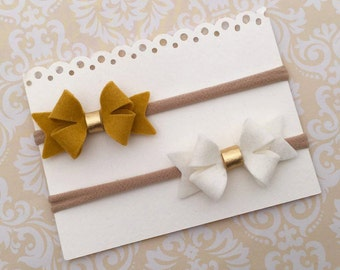Felt Bow Headband and Tiny Felt Flower Headband Gift Set - Nylon Headbands