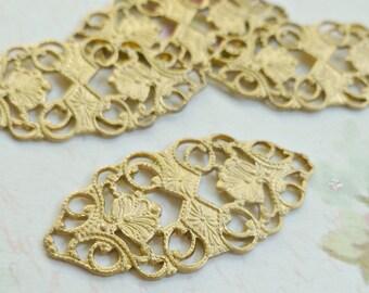 Four Raw Brass Filigree American Made Metal Findings (19-7B-4)