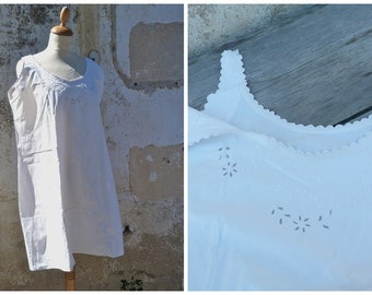 Vintage Antique French Edwardian white cotton dress underdress with handmade  embroiderys  size S/M/L