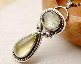 Aquamarine Necklace, Lemon Quartz Pendant, Detailed Metalwork Jewelry, Bohemian Style Necklace, Boho Chic, Modern Rustic Jewelry