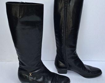 Gorgeous vintage 80s Salvatore Ferragamo equestrian knee high boots SIZE 6 US