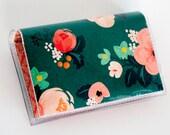 Handmade Vinyl Card Holder - Wild Spirit / card case, vinyl wallet, snap, women's wallet, small wallet, flowers, floral, pretty, gift