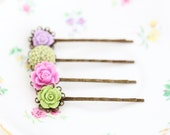 Floral Hair Pins, Green, Pink, Lilac, Mauve, Bobby Pins, Vintage Wedding, Wedding Hair Accessories, Bridal Hair, Gift For Woman