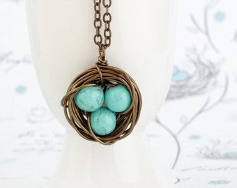 Turquoise Bird Nest Necklace  - Gift for Mom - Family Jewelry - Gift For Mother - Woodland Necklace - Nature Pendant - Mommy Jewelry
