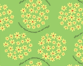 "I love you 1,000 yellow daisies fabric yard-- 56"" wide quilting cotton"