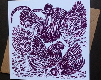 With his hens: Preening