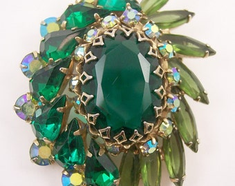 Juliana Green Rhinestone Brooch