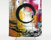 Enso Abstraction No. mm15 . Shower Curtain from Original abstract Spiritual zen circle watercolor art painting by Kathy Morton Stanion  EBSQ