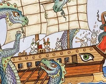 "The Oddyssey Dragon Hydra Greek Art Print 11""x 14"""