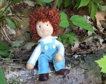 Waldorf bendy doll, red hair, blue overalls