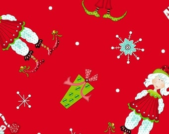 Tisel Toes by Henry Glass Fabrics, Elves and presents on Red, yard
