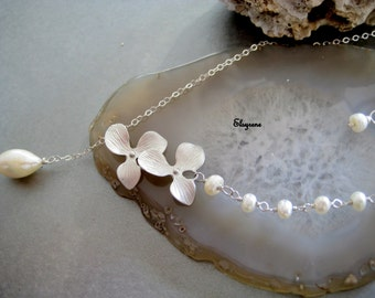 Simple Triple Cascading Orchids Flower with fresh water Pearl Necklace-feminine trio flower Necklace-Lotus bride Necklace-Wedding jewelry