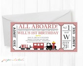 Train Ticket Birthday Invitation - Transportation - All Aboard Chugga Choo - First Birthday Boy - Red Yellow Black Digital Invitation