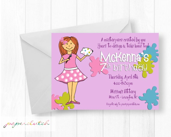Ceramics and Pottery Painting Birthday Party Invitation - Art Invitation - Painting Party - Red Hair - Blonde - Red Digital File or Printed