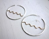Two-Toned Wave Horizon Hoops in Sterling and 14k GF