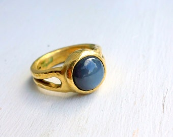 Golden Brass Heavy Cast Ring with Gray Mystical Moonstone Cabochon