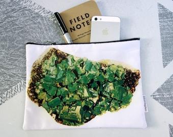Green Mineral Zipper Pouch- Jewelry Bag- Makeup Bag