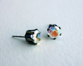 Oxidized Sterling Silver and Topaz Pronged Studs