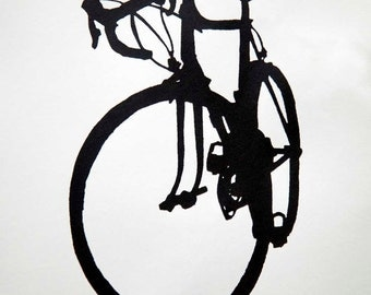 Road Bike Silhouette in Classic Black on White - Bicycle Art Print