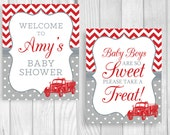 Custom Printable Red and Gray Vintage Fire Truck Baby Shower Sign and Thank You Note Package RESERVED FOR TABITHA