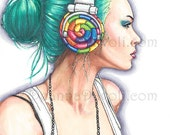 Candy Art Print Fantasy Art Headphone Girl Candy Girl Urban Portrait Funky Wall Art 8.5x11