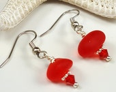 RED Sea Glass Earrings Red Beach Glass Earrings Sea Glass Jewelry E-175